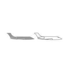 Private airplane icon grey set vector