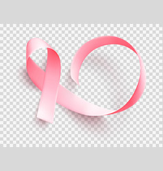 realistic pink ribbon symbol of breast cancer vector image
