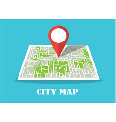 red icon destination point on map vector image