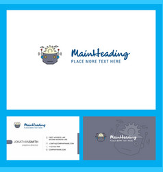 Robot logo design with tagline front and back vector