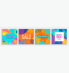 sale summer cards with geometric and tropical mix vector image
