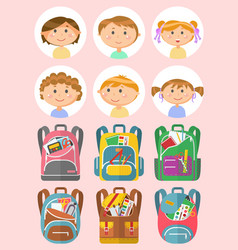 school children portraits backpack set vector image