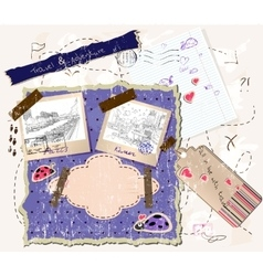 scrapbooking set with stamps and photo frames vector image