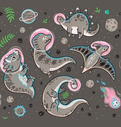 seamless pattern with funny cartoon dinosaur vector image
