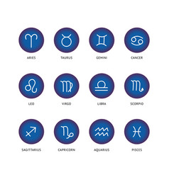 set and collection zodiac signs in blue circles vector image