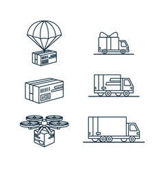 set delivery related monochrome line icons vector image