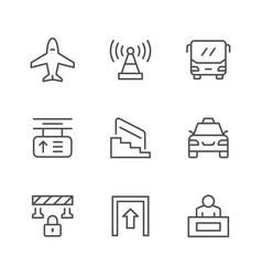 set line icons public navigation vector image