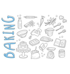 Set of hand drawn icons on baking theme vector