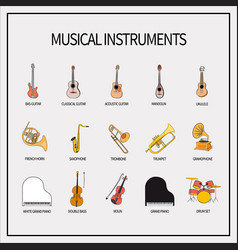 Set of icons musical instruments vector
