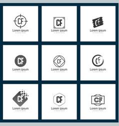Set of letter logo initial cf logo template design vector