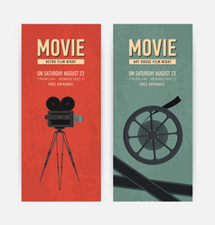 Set of vertical banner templates with old camera vector