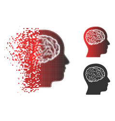 shredded pixel halftone head brain icon vector image