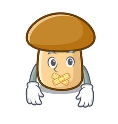 Silent porcini mushroom mascot cartoon vector