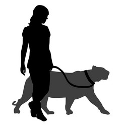 silhouette of a woman with a panther on a walk vector image