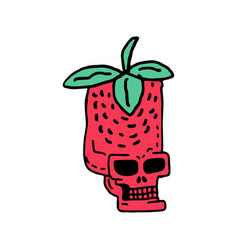 skull strawberry drawing head of skeleton red vector image