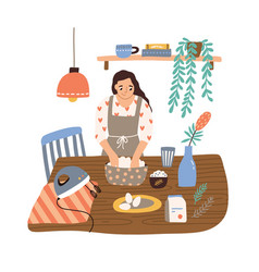 Smiling housewife cooking at cozy kitchen vector