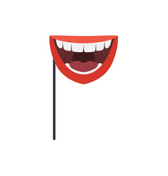 Smiling mouth mask on stick masquerade decorative vector