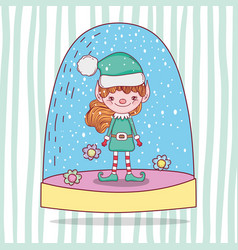 snowing glass ball with elf and flowers vector image