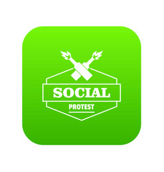 social protest molotov cocktail icon green vector image