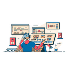 Sound engineer modern workplace vector