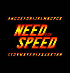 Speed style font need for speed capital alphabet vector