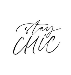 Stay chic ink pen lettering vector