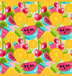 summer fruits patterns in bright cartoon style vector image