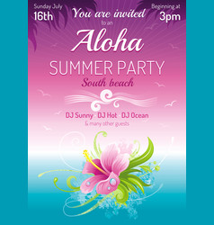 Sunset beach sea poster hawaiian luau party vector