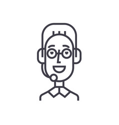 support client service male head with headset vector image