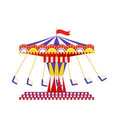 Swing carousel ride flat design vector