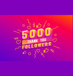 Thank you 5000 followers peoples online social vector