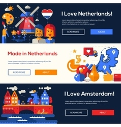Traveling to Netherlands website headers banners vector image