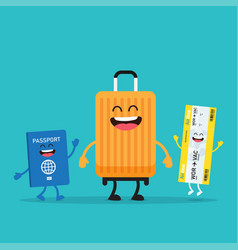 travelling suitcase and passport characters vector image