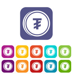 Tugrik coin icons set vector