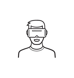 user wearing virtual reality glasses hand drawn vector image
