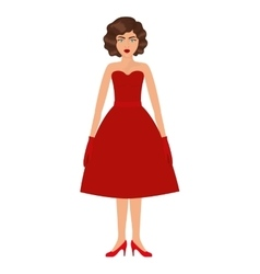 Woman with red prom dress and eighties hairstyle vector
