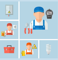Working male electrician with electrical tools vector