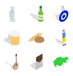 World situation icons set isometric style vector