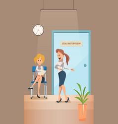 Worried woman wait for job interview in corridor vector