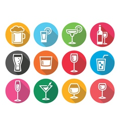 Drink alcohol beverage round flat design icons set vector image