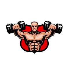 gym bodybuilding sport logo or label vector image vector image