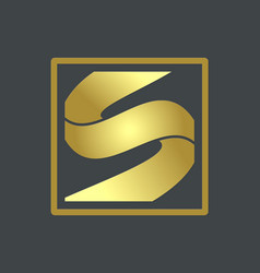 letter s gold company logo vector image