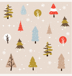 seamless natural ornament on the christmas theme vector image