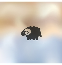 Sheep icon on blurred background vector