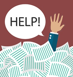 Businessman need help under a lot of documents vector image vector image