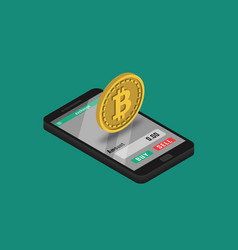 cryptocurrency trading application on smartphone vector image
