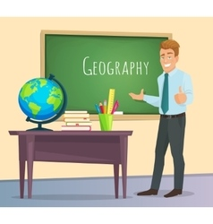 Geography teacher stands at the blackboard vector image vector image
