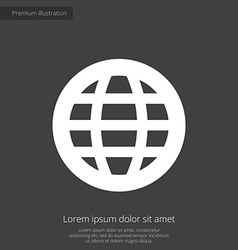 globe premium icon white on dark background vector image