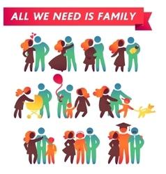 Happy family icon multicolored set in simple vector image
