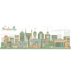 Abstract Nashville Skyline with Color Buildings vector image